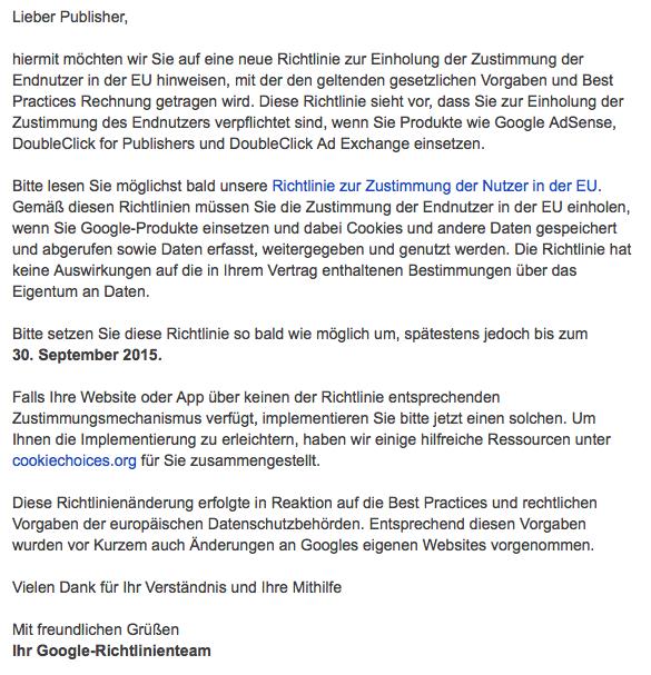 Google ändert die Nutzerrichtlinien – Zeit für ein Hinweis auf Nutzung von Cookies